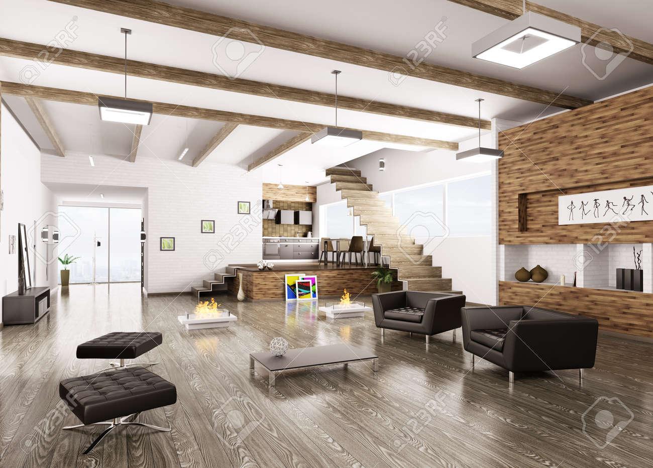 Innere Des Modernen Wohnung Wohnzimmer Esszimmer Flur Kche