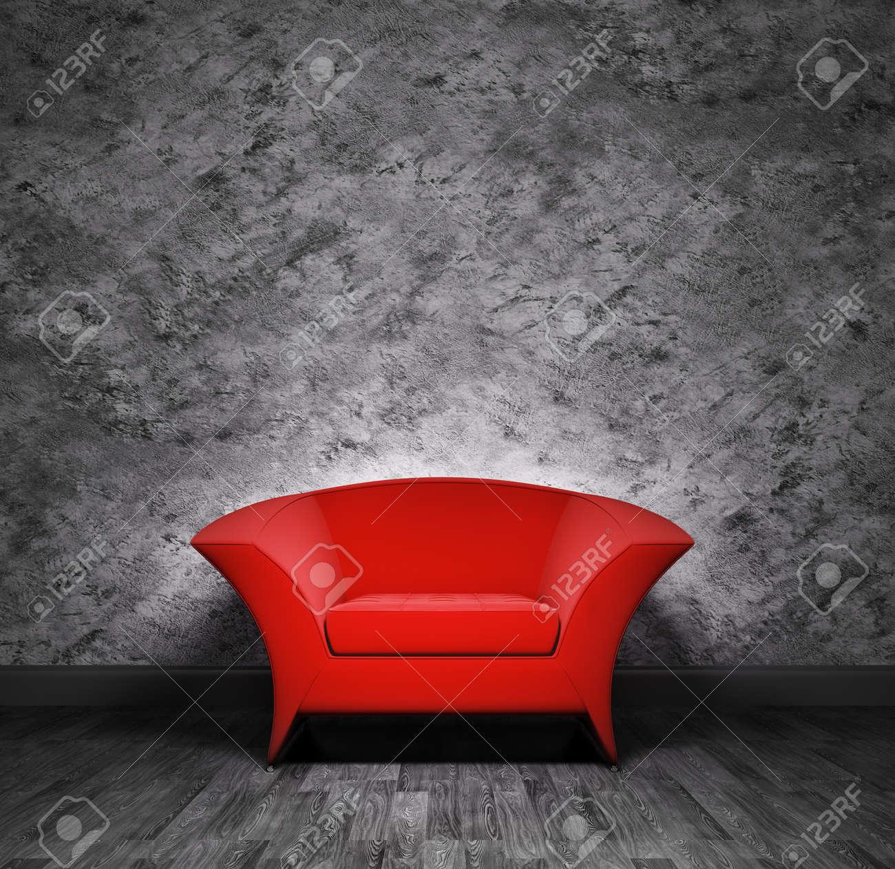 Moderne rote sessel über die schwarze mauer lizenzfreie fotos ...