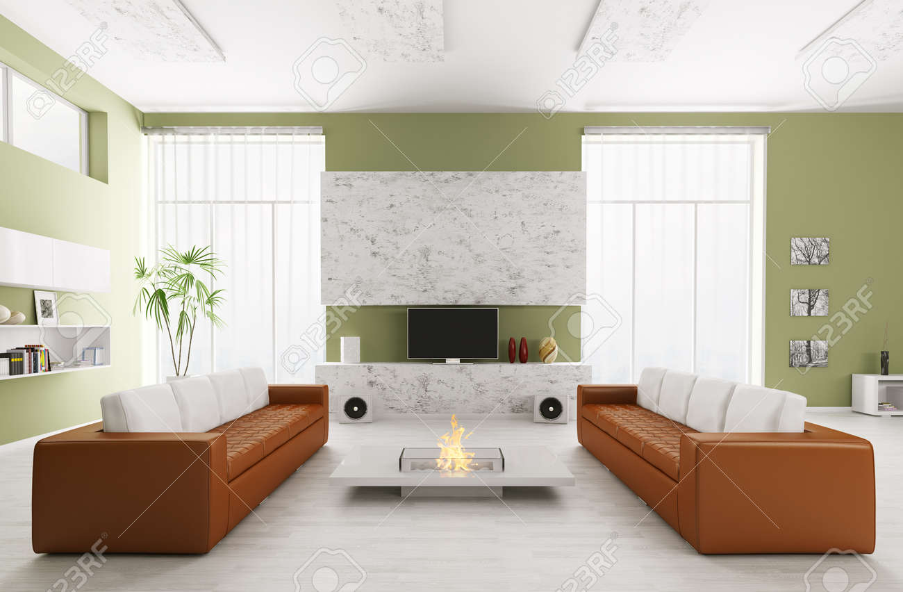 Astounding Interior Of Modern Living Room With Two Sofas And Tv 3D Render Dailytribune Chair Design For Home Dailytribuneorg