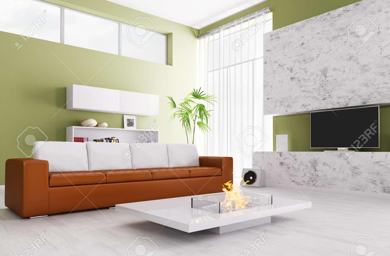 Interesting Das Innere Der Modernen Wohnzimmer Mit Sofa Kamin Und Tv Lizenzfreie Bilder With Fernseher