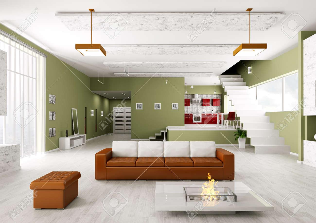interno di cucina moderna sala appartamento soggiorno foto royalty ... - Soggiorno E Cucina Moderna