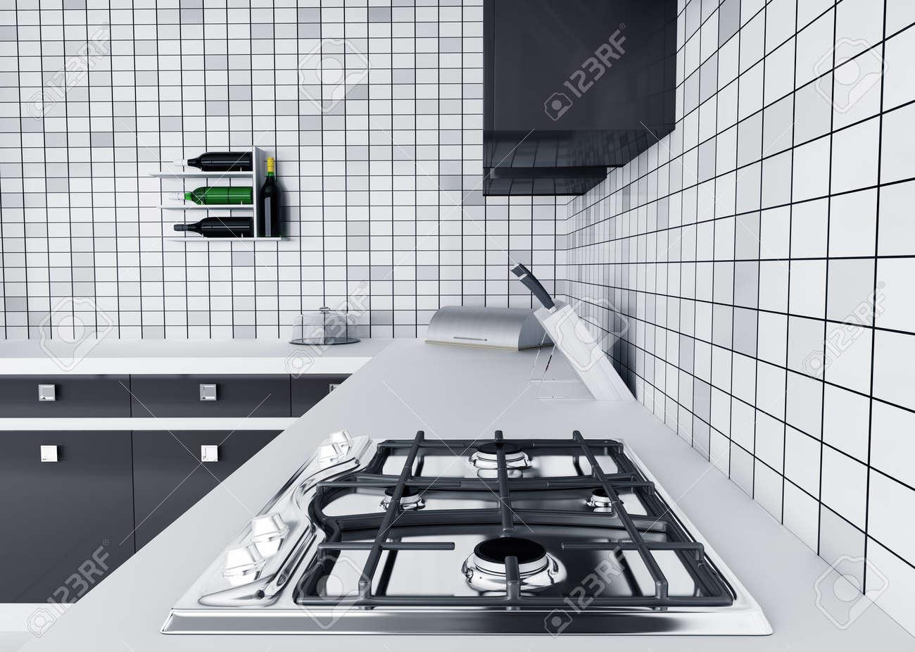 Modern Kitchen Stove modern kitchen worktop with gas stove interior 3d render stock