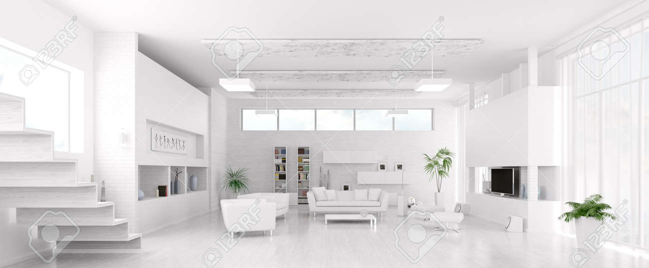 Interior of modern white living room panorama 3d render