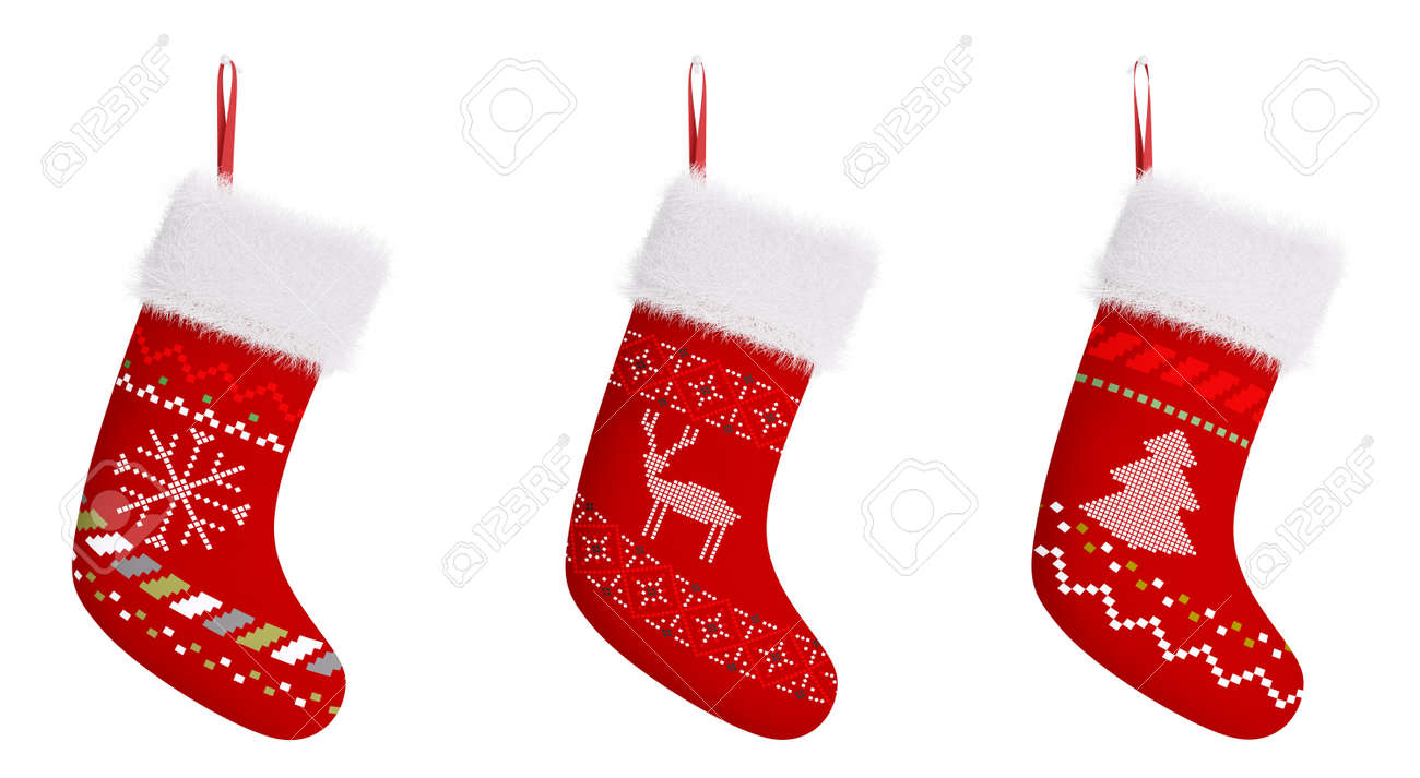 Red Christmas Stockings With Patterns Isolated Over White 3d.. Stock ...