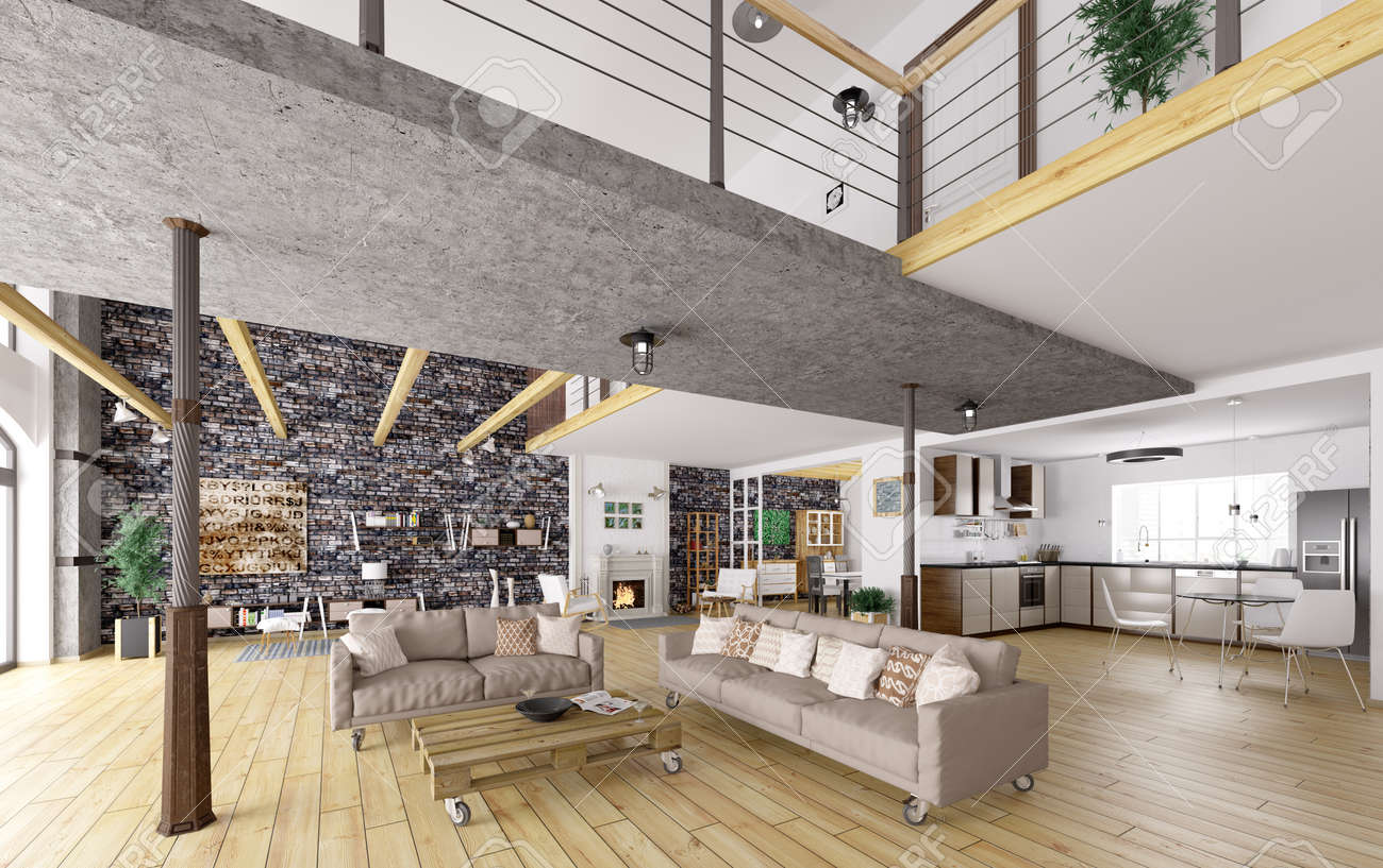 Loft Appartamento Interni, Sala Da Pranzo, Soggiorno, Cucina Di ...