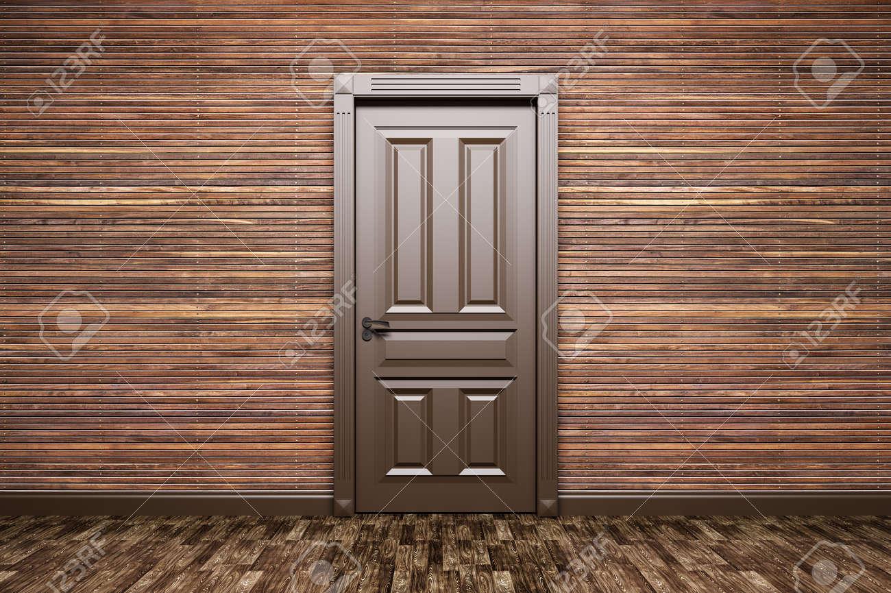 Intérieur D\'une Chambre Avec Porte Marron Classique Sur Panneaux De ...