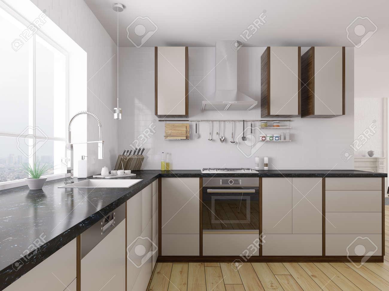 Modern kitchen with black granite counter interior 3d rendering - 52748809
