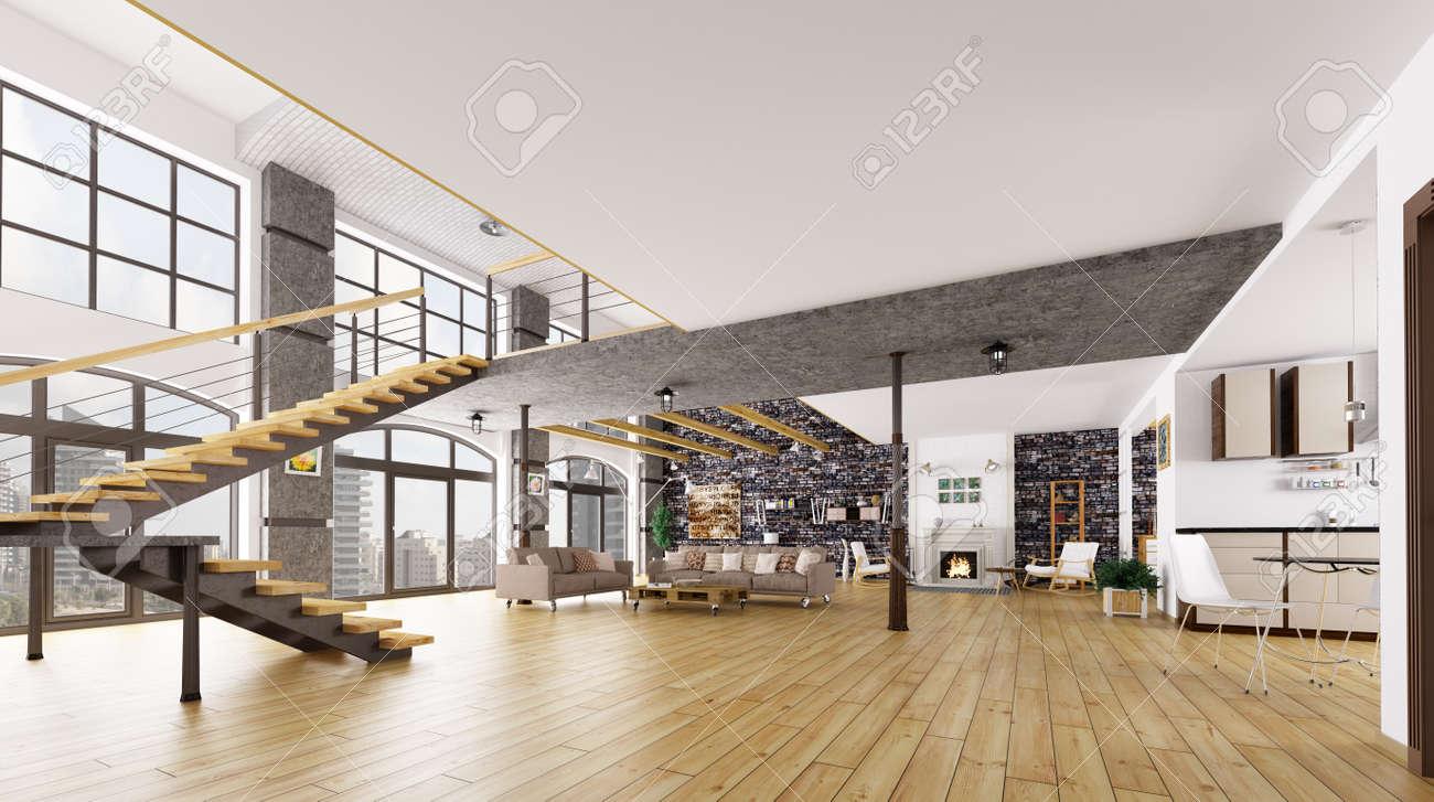 Loft Interieur, Wohnzimmer, Küche, Treppe 3D-Rendering Lizenzfreie ...