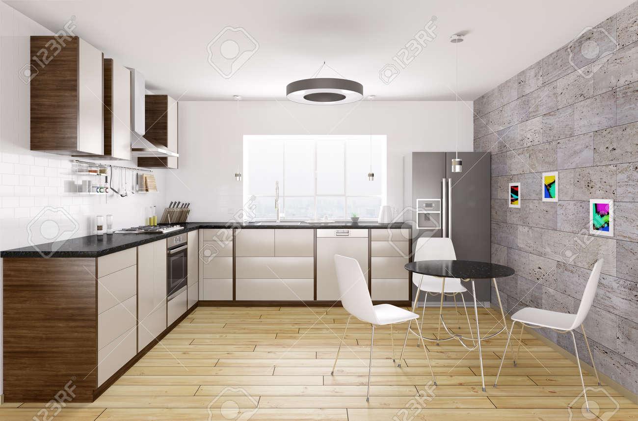 Cuisine moderne avec comptoir en granit noir, fenêtre, table et chaises  rendu inter 3d