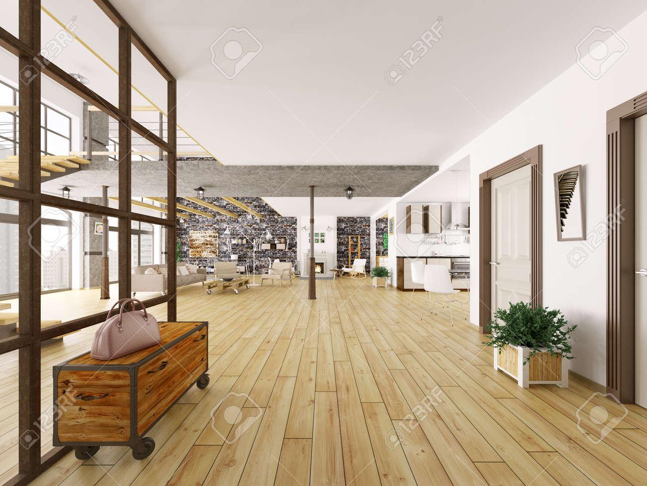 Loft Interieur, Wohnzimmer, Küche, Flur 3D-Rendering Lizenzfreie ...
