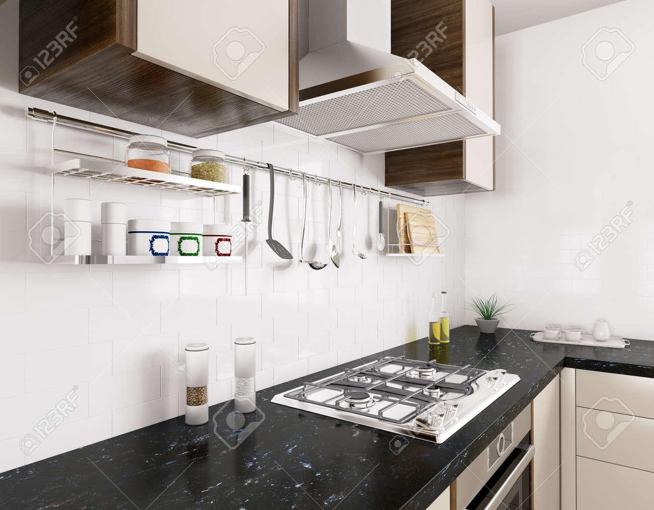 Cuisine Moderne Avec Comptoir En Granit Noir Cuisiniere A Gaz