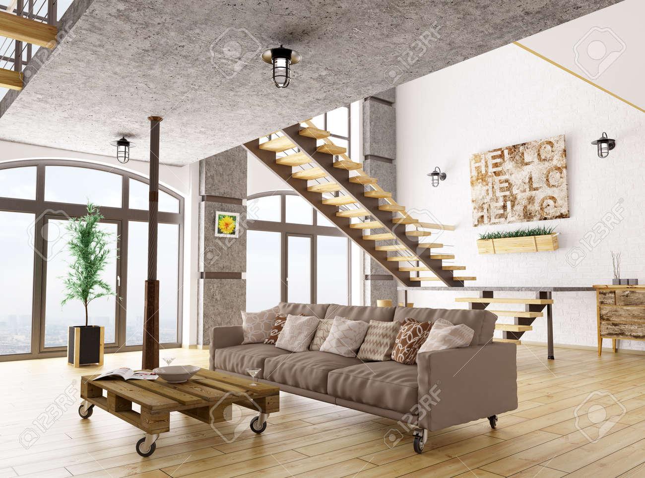 Escalier Dans Un Salon intérieur d'un salon avec canapé, escalier 3d render