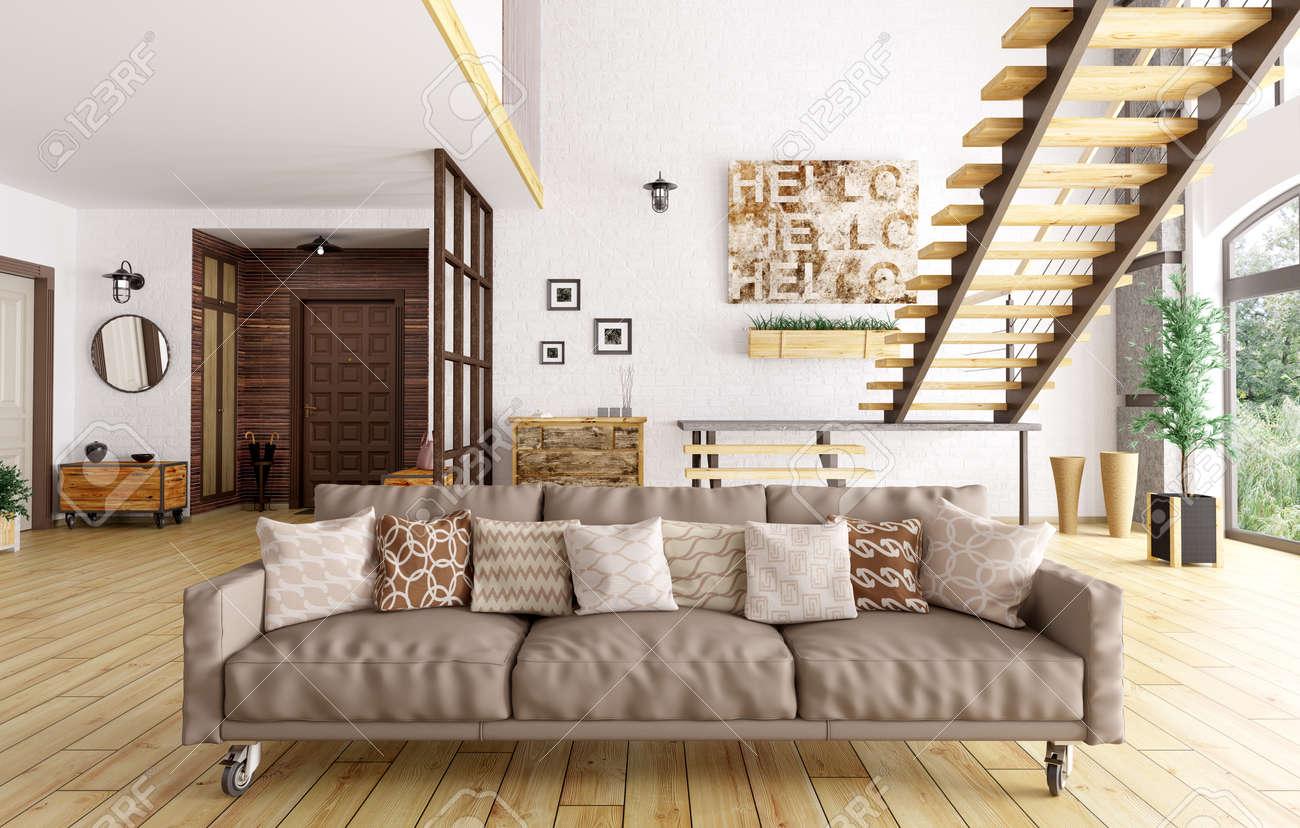 Escalier Dans Un Salon intérieur moderne de salon et salle, escalier, un canapé avec des coussins  rendu 3d
