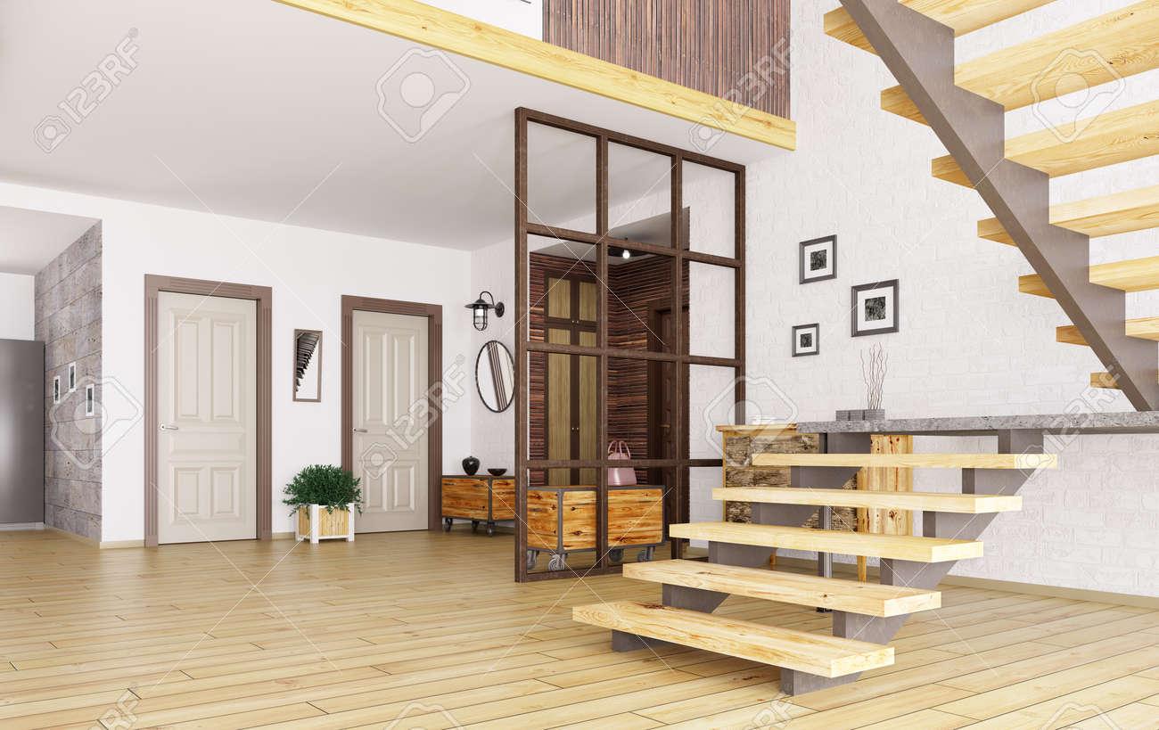 Inter de hall d\'entrée moderne avec escalier 3d render
