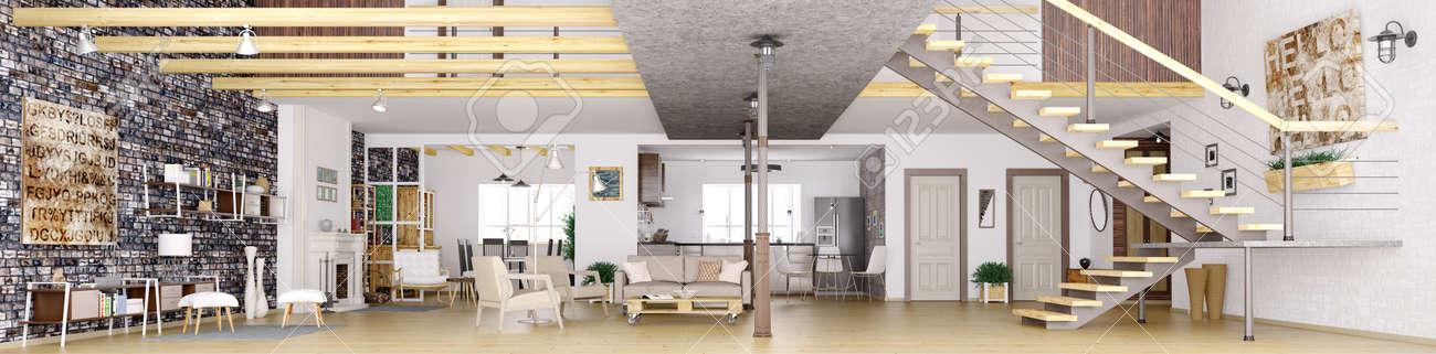 Panorama Der Modernen Loft Wohnung Innenraum, Wohnzimmer, Flur, Küche,  Esszimmer,