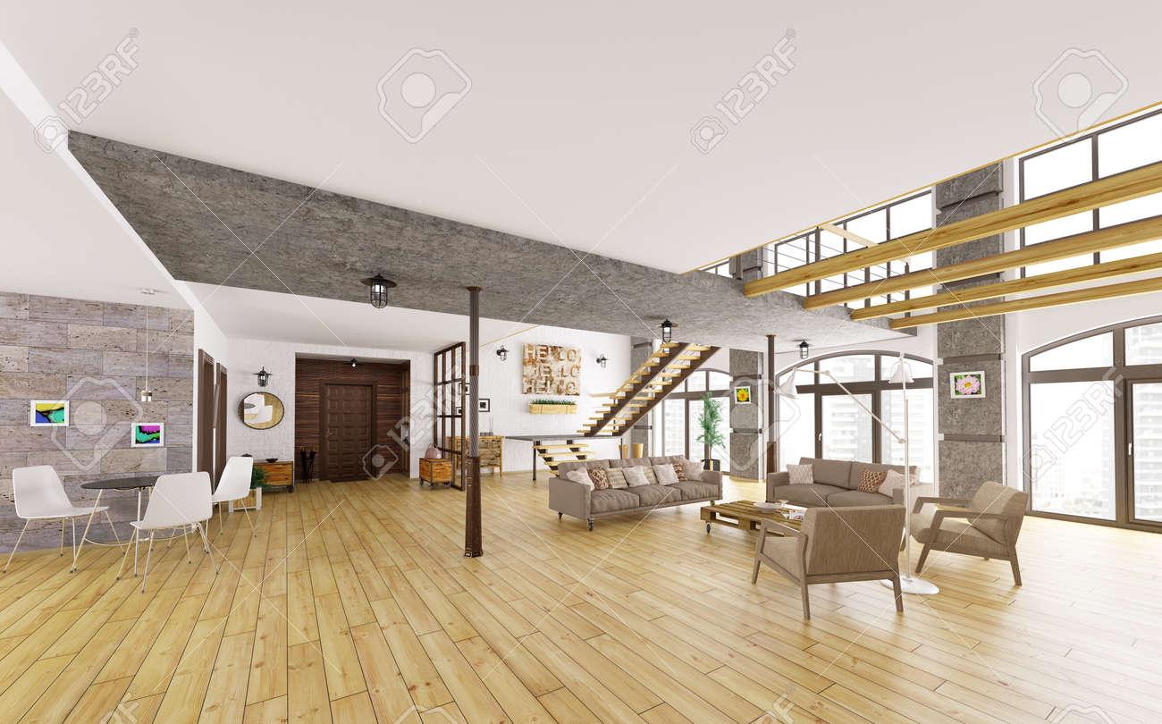 Moderne Loft-Wohnung Innenraum, Wohnzimmer, Flur, Esszimmer ...