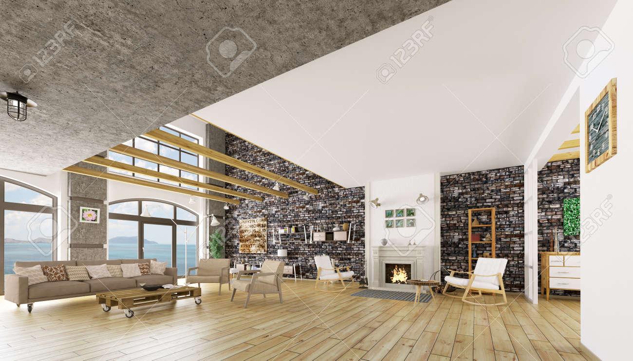 Inter de moderne appartement loft, salle de séjour, salon, 3D, render