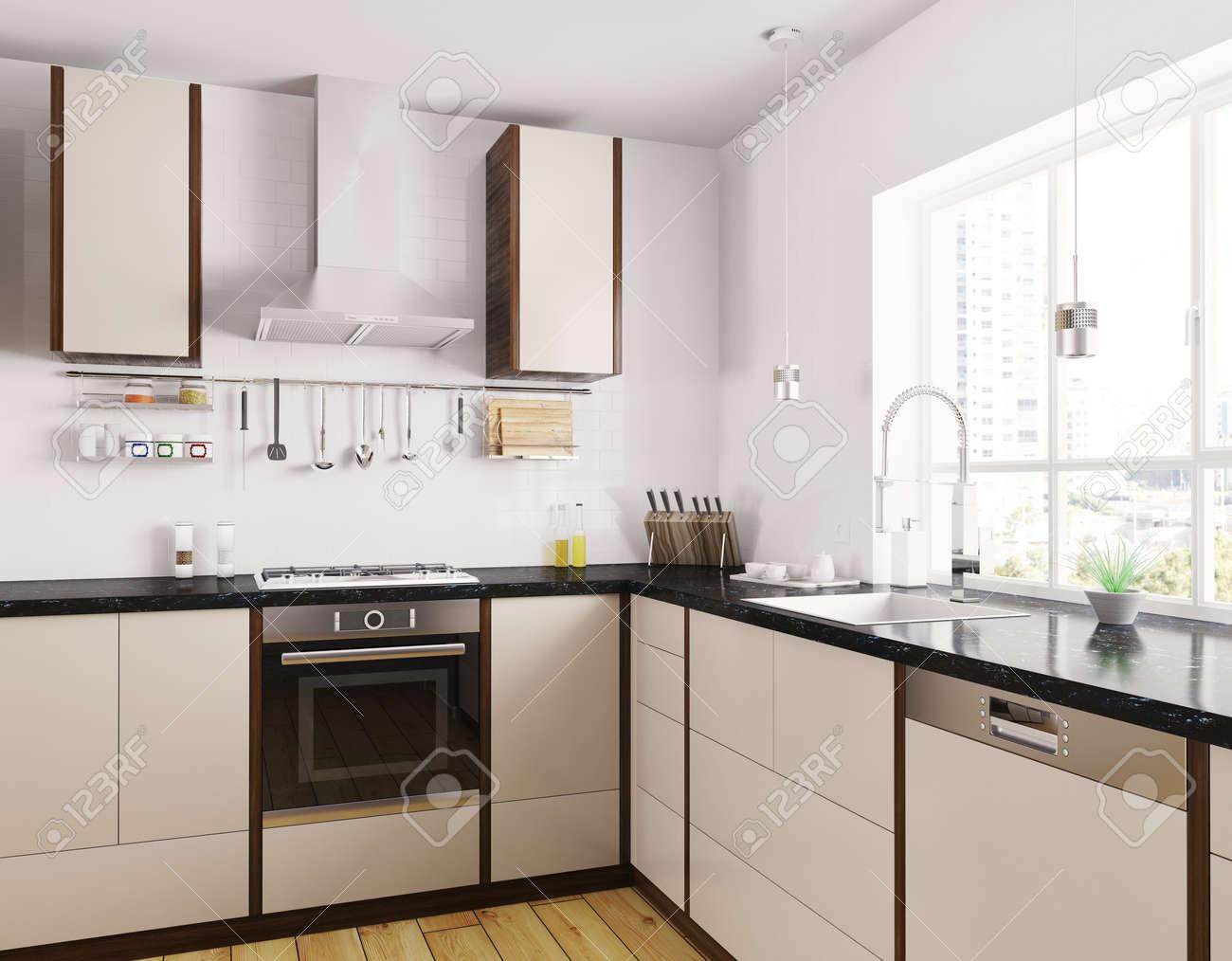 cocina moderna de color beige con encimera de granito negro del interior d foto de archivo