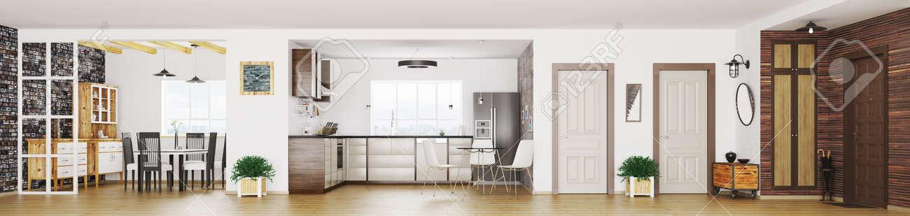 Moderne Wohnung Innenraum Wohnzimmer Flur Küche Esszimmer