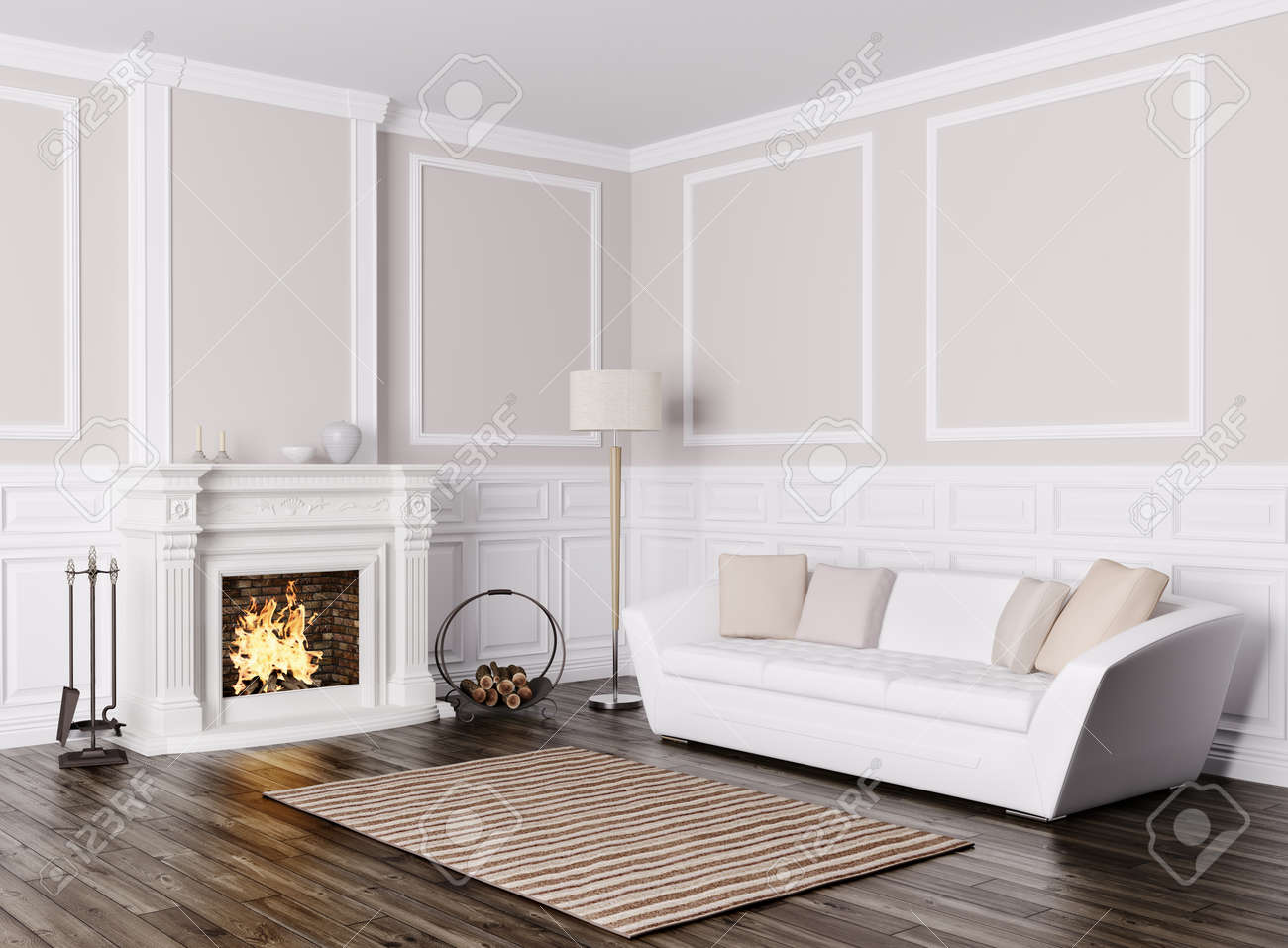 classic interior design of living room with white sofa and fireplace