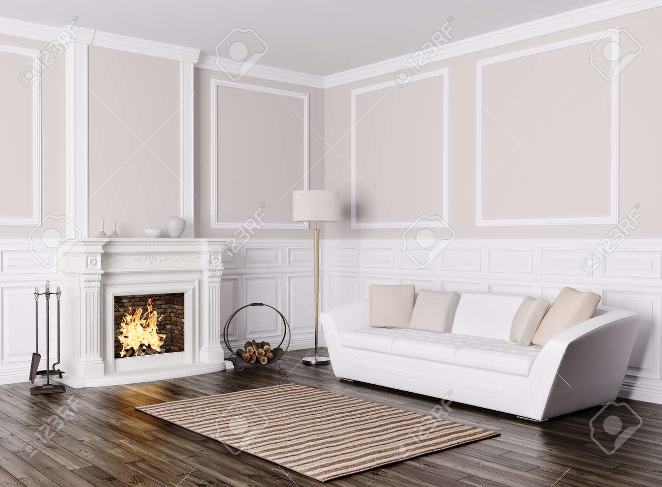 Diseño Interior Clásico De La Sala De Estar Con Sofá Blanco Y ...