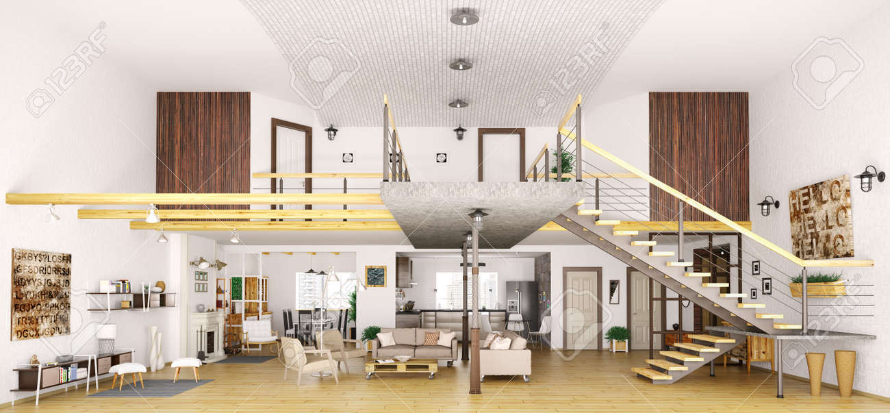 Modern Loft Apartment Interior In Cut, Living Room, Hall, Kitchen ...