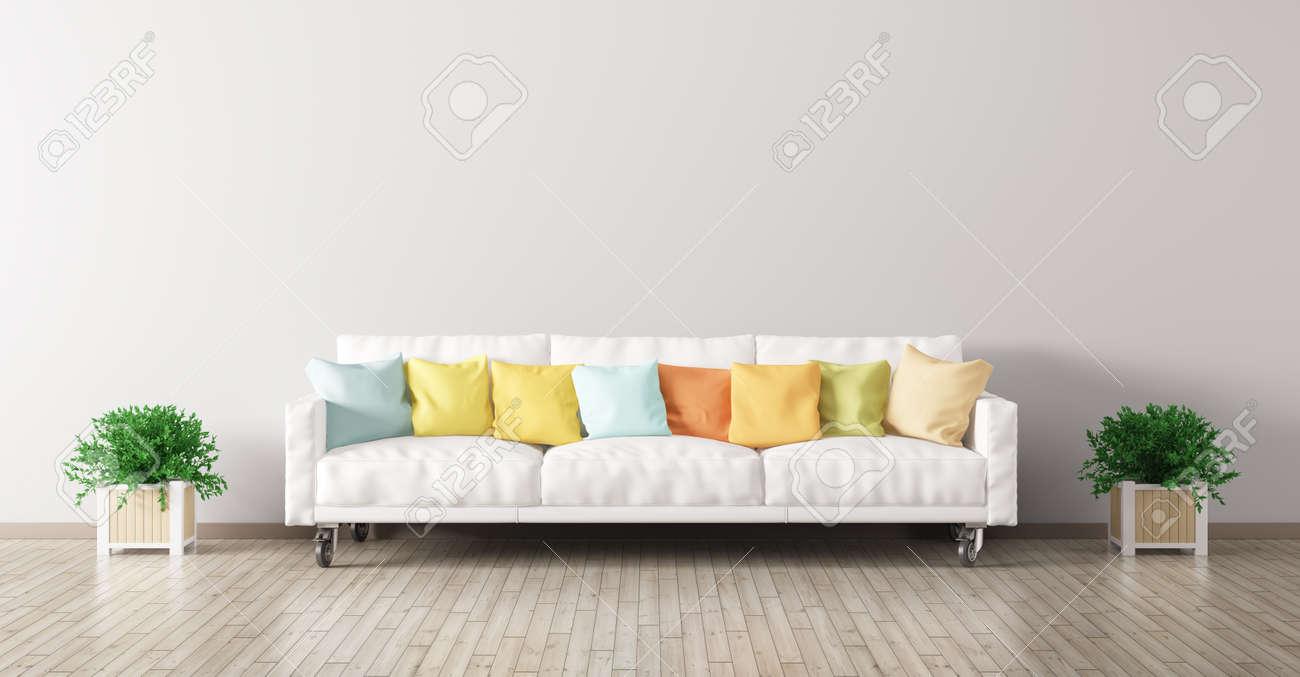 Moderne Unter Der Wohnzimmer Mit Weißen Sofa, Bunten Kissen Und Pflanzen  3D Darstellung Standard