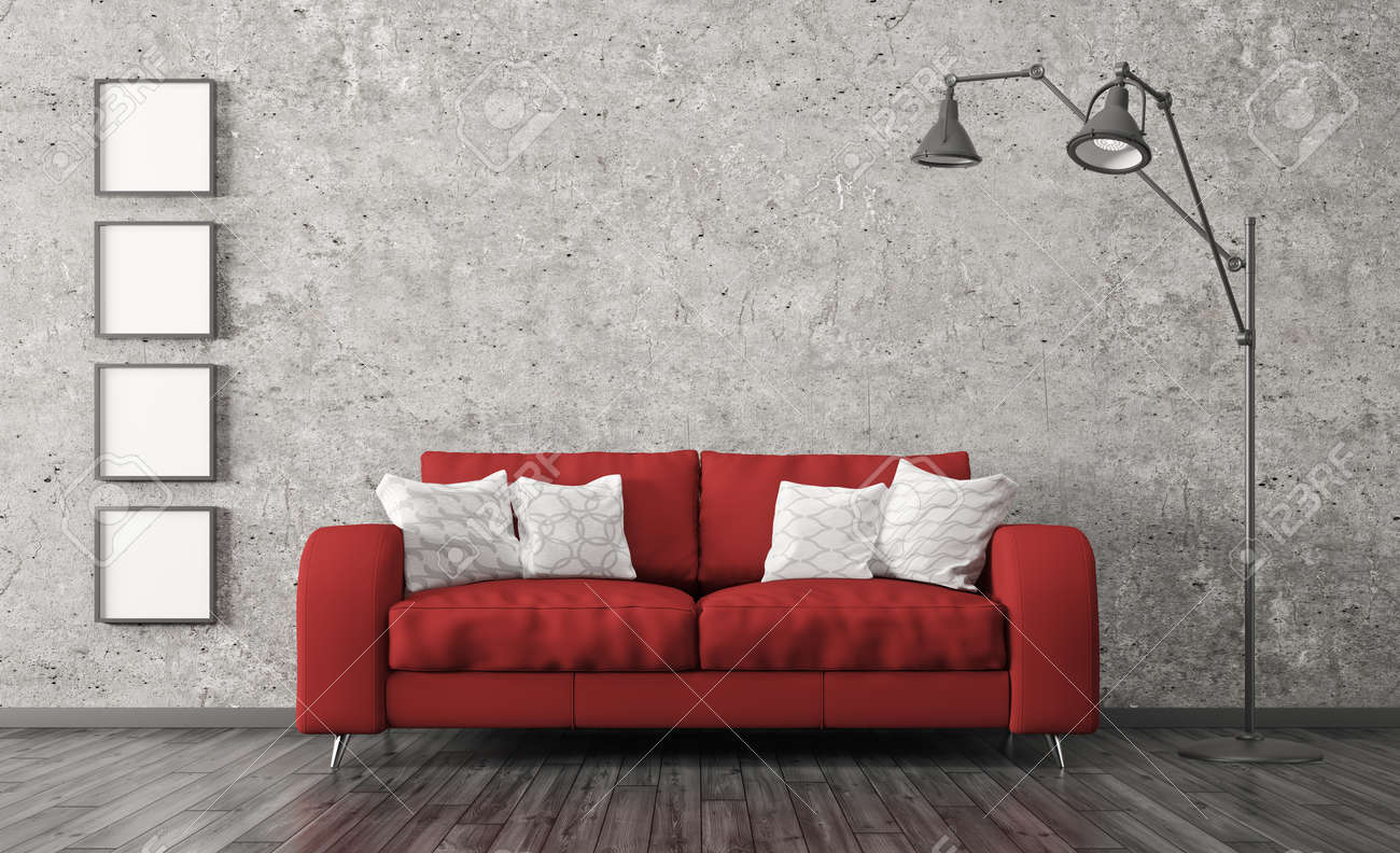 Modern Interior Of Living Room With Red Sofa, Floor Lamp Against ...