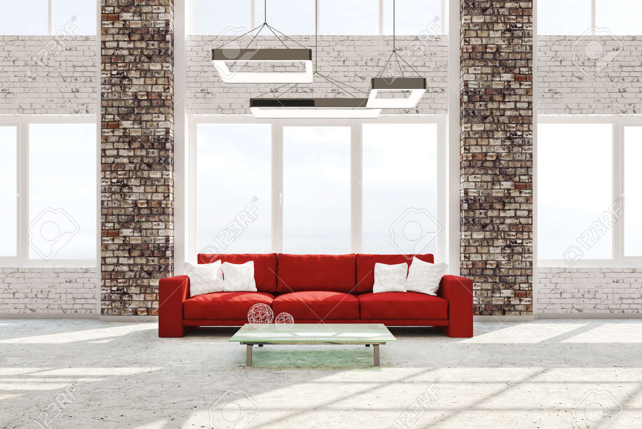 Modern Interior Of Living Room With Brick Columns Concrete Floor Red Sofa  Against Of Window 3d
