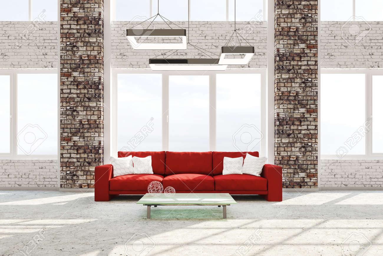 Modern Interior Of Living Room With Brick Columns Concrete Floor ...