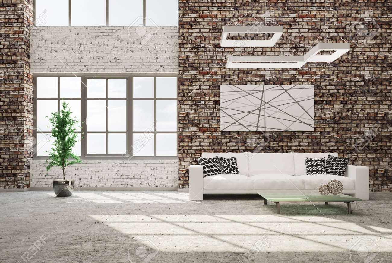 Moderne Inter Aus Wohnzimmer Mit Mauer Betonboden Weissen Sofa Und
