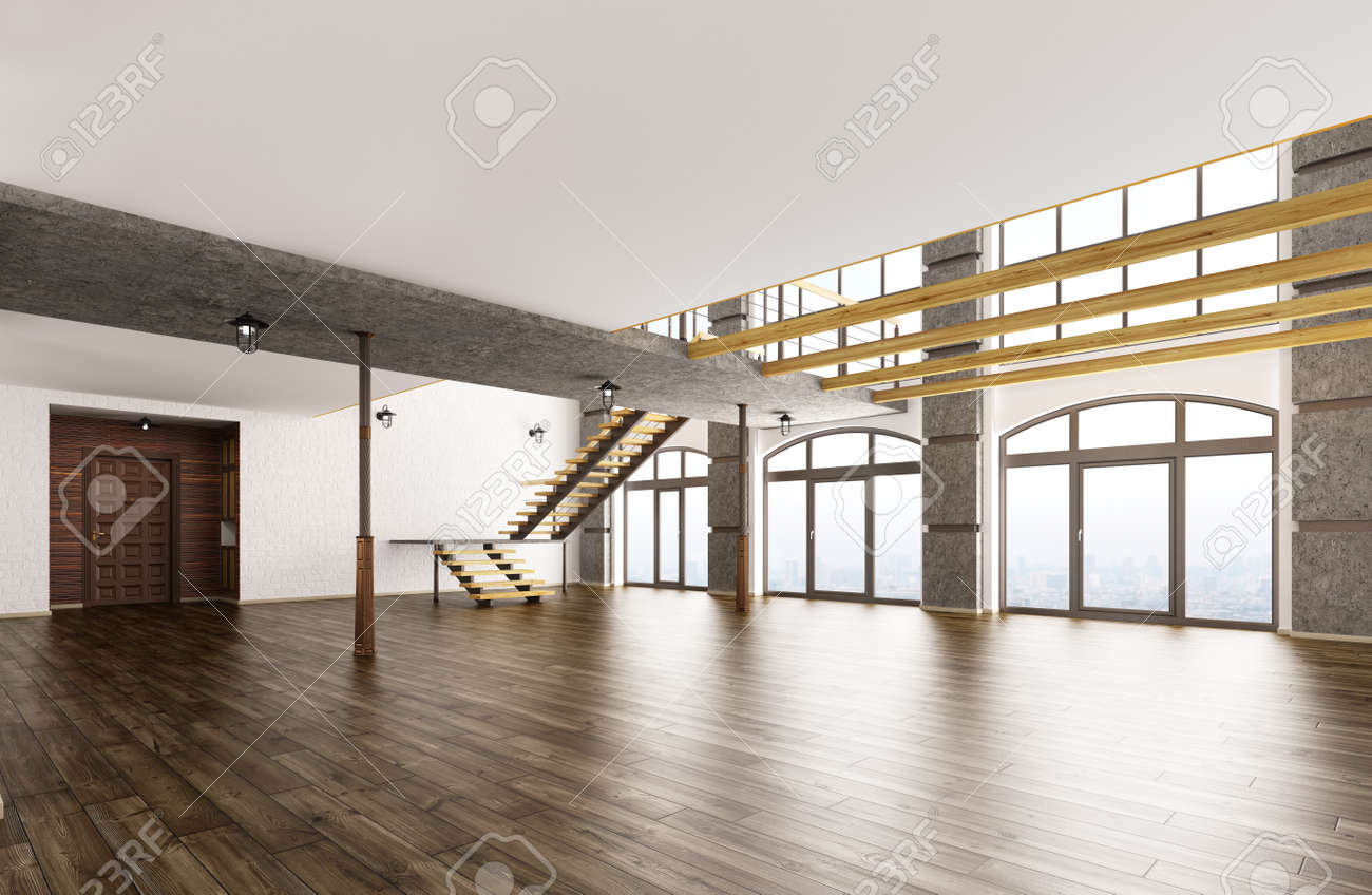 empty interior of loft apartment living room hall staircase 3d rendering stock photo 57643240