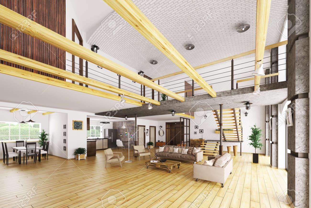 Inter De Maison Moderne, Salon, Hall, Cuisine, Rendu 3d Escalier ...