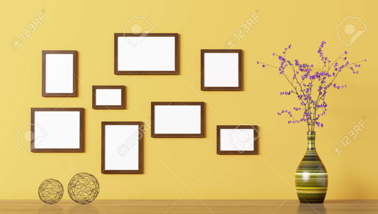 Blank Wooden Frames Above Shelf With Flower Vase Over Yellow.. Stock ...