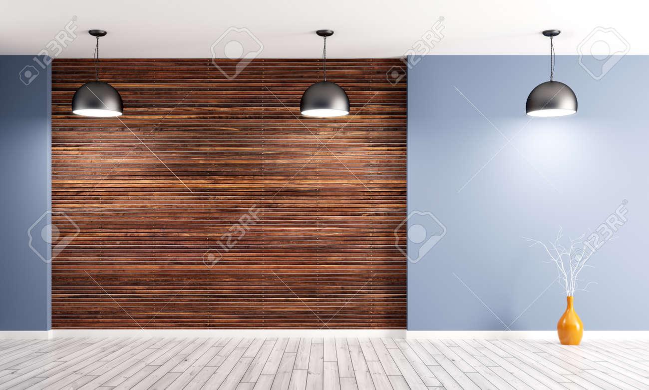fond intérieur vide, chambre avec lambris de bois brun, mur bleu