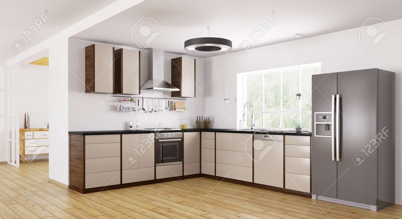 Interior of modern kitchen fridge dishwasher oven d rendering