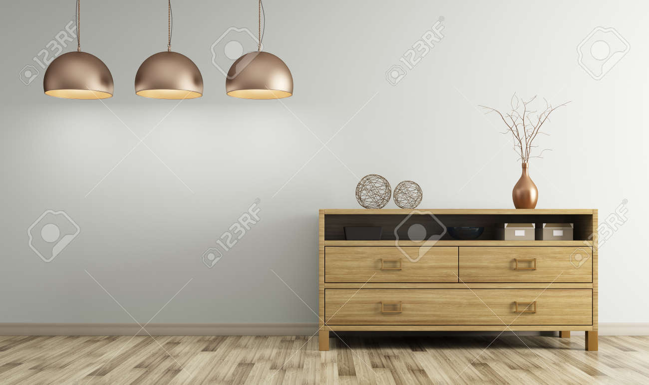 Modern Interior Of Living Room With Wooden Dresser And Lamps.. Stock ...
