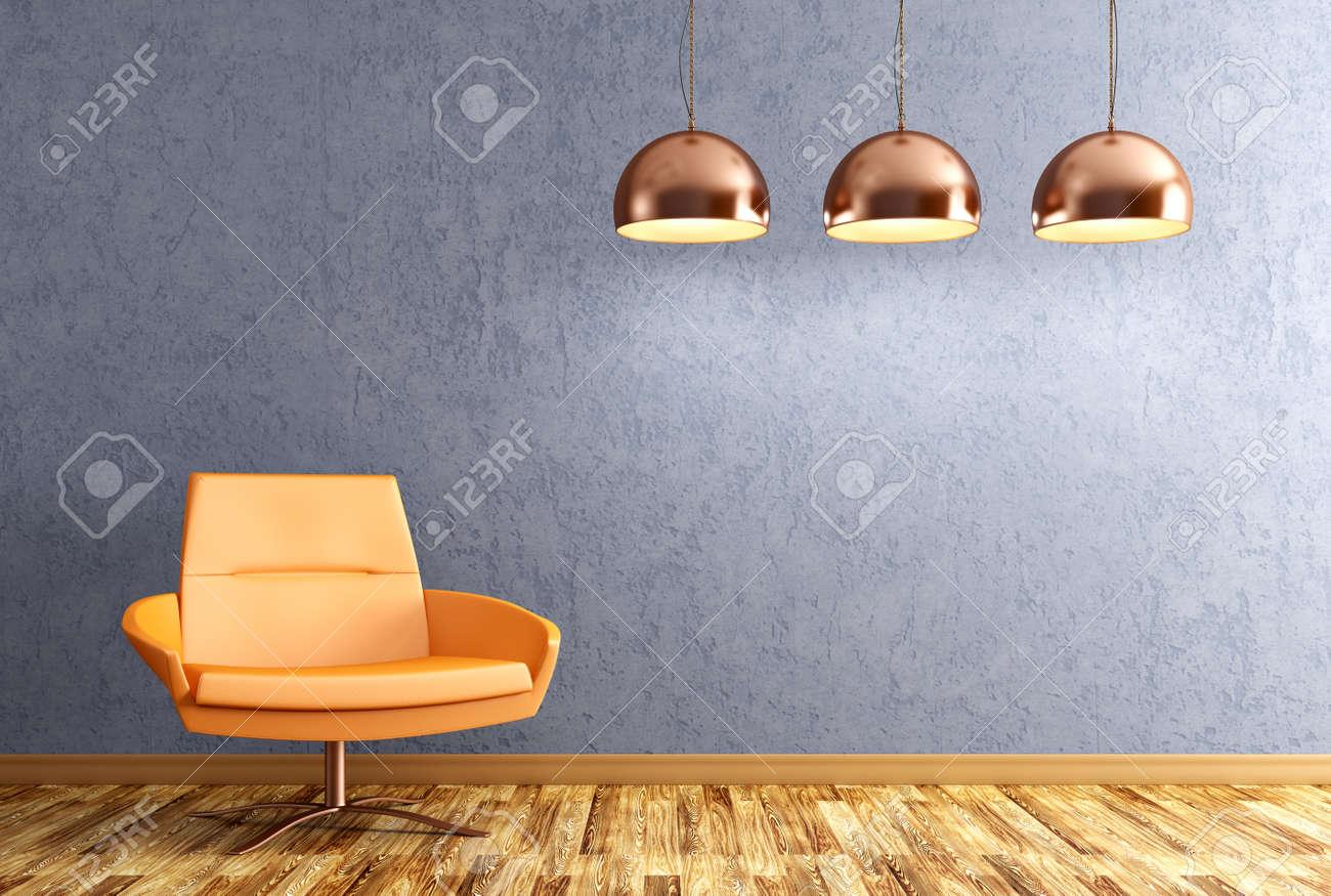 Modernes Interieur Aus Wohnzimmer Mit Orange Sessel Und Kupfer