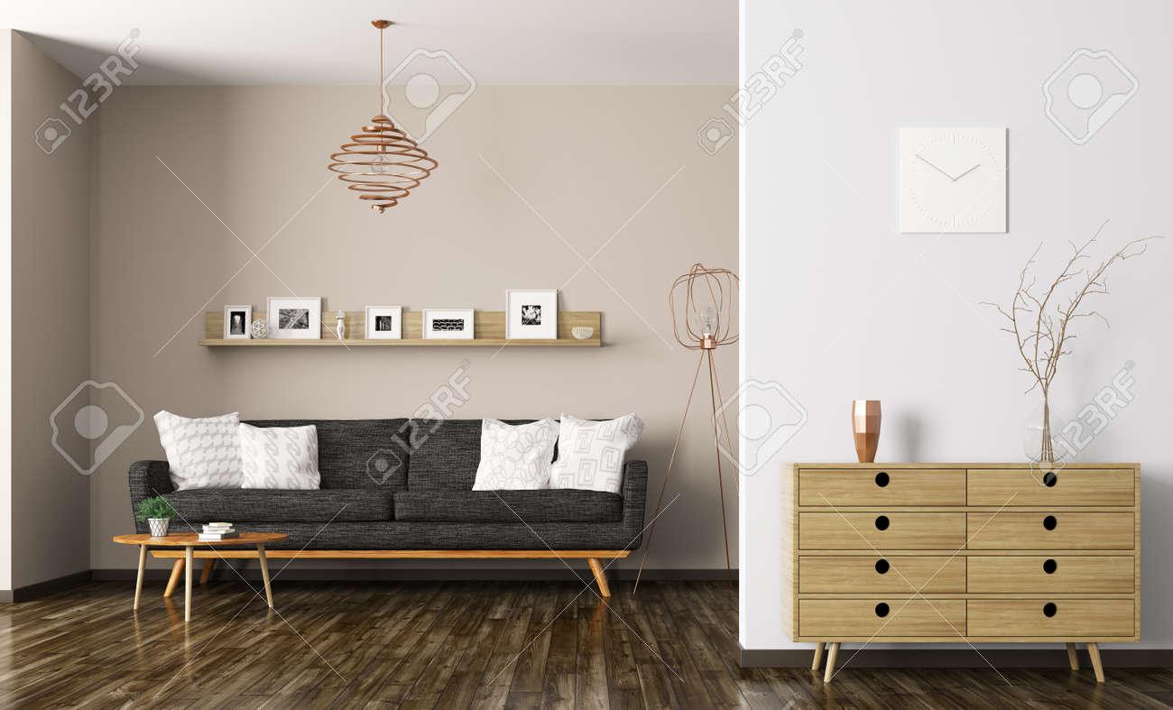 Intérieur Moderne De Salon Avec Canapé Noir Et Commode De Rendu 3D ...