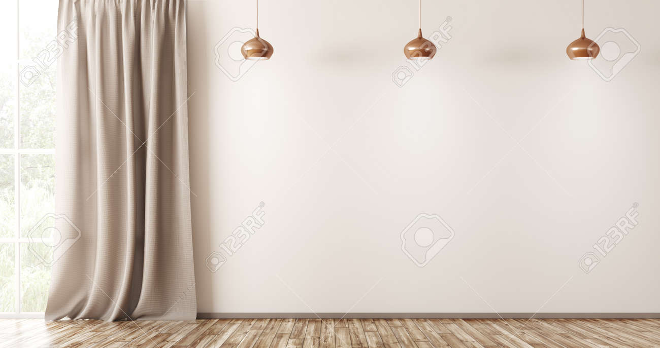 Empty Interior Background Living Room With Beige Wall Three
