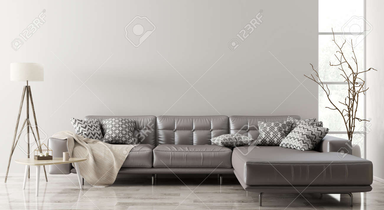 Modern interior of living room with brown leather corner sofa,..