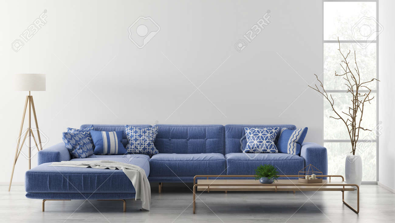 Modern interior of living room with blue corner sofa, coffee..