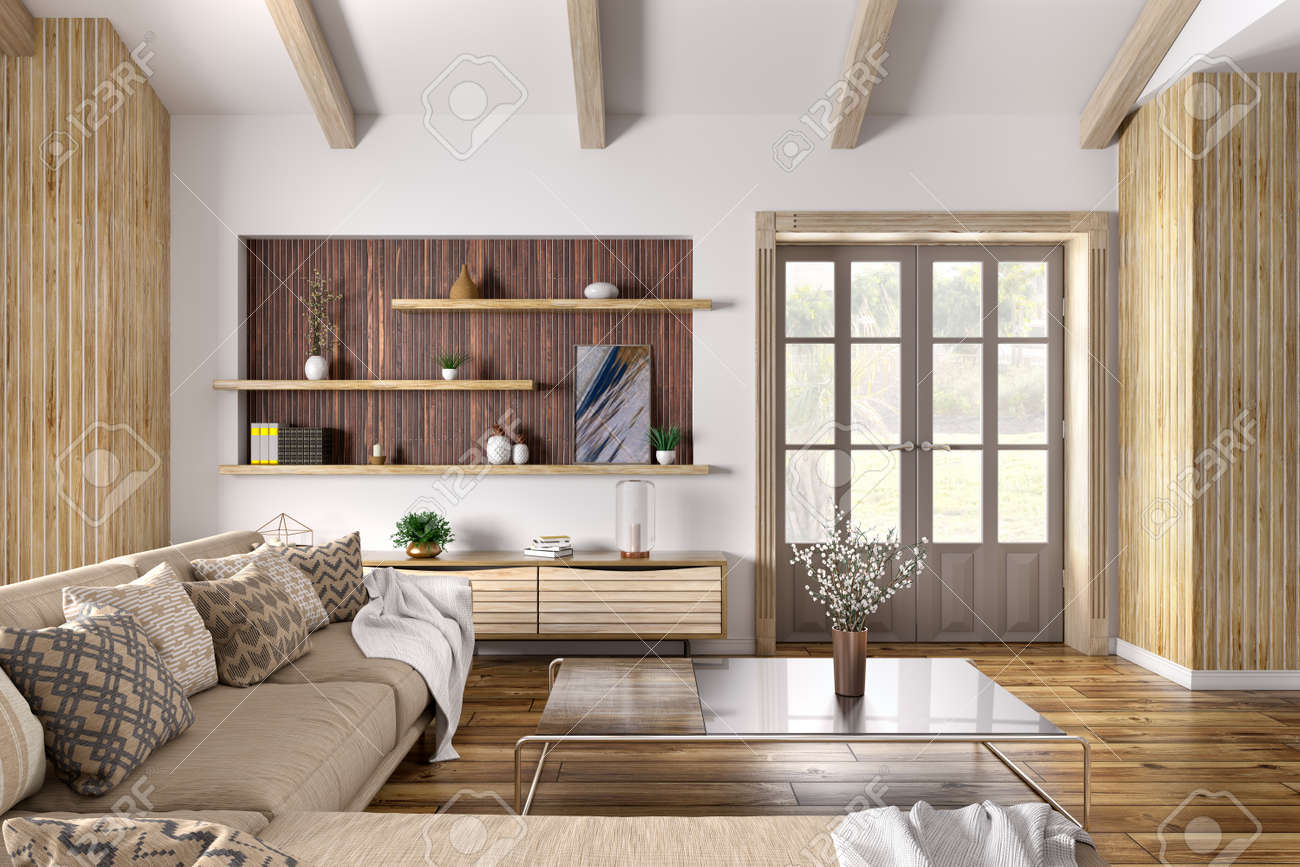 Modern Interior Design Of House, Living Room With Beige Sofa, Door ...
