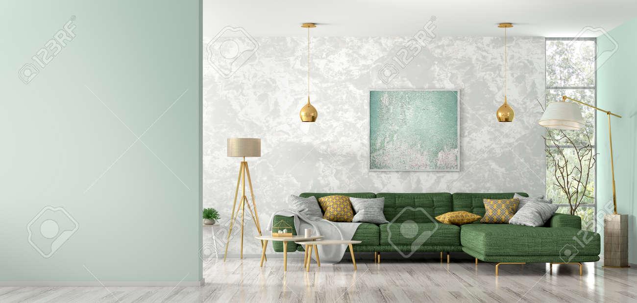 Modern interior of living room with green corner sofa, coffee..
