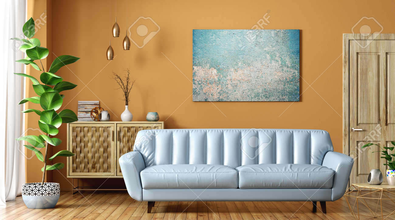 Modern Interior Of Living Room With Blue Leather Sofa Wooden Stock Photo Picture And Royalty Free Image Image 128015008