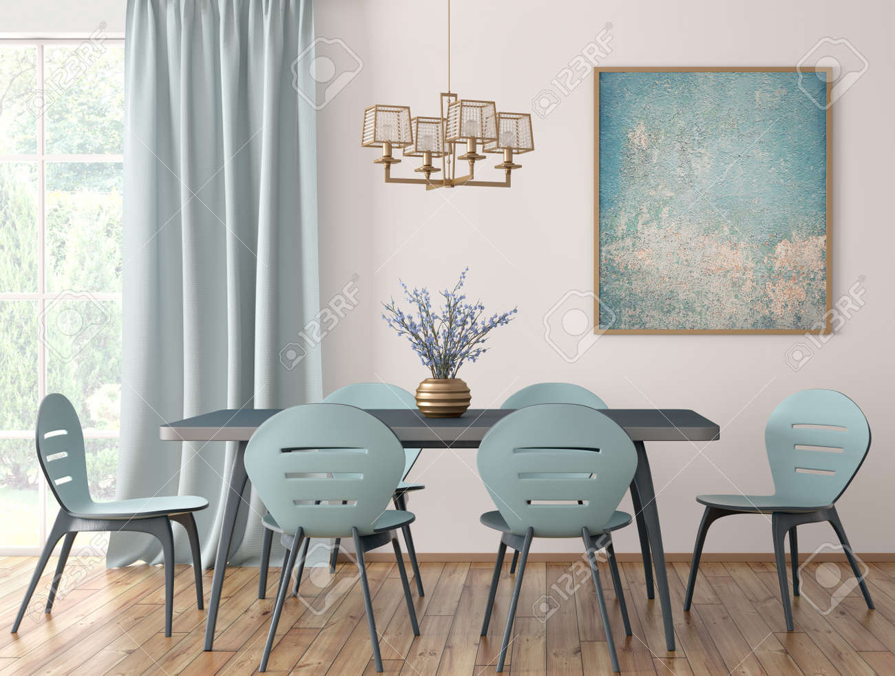 Interior Of Modern Dining Room Blue Table And Chairs Against Stock Photo Picture And Royalty Free Image Image 128326846
