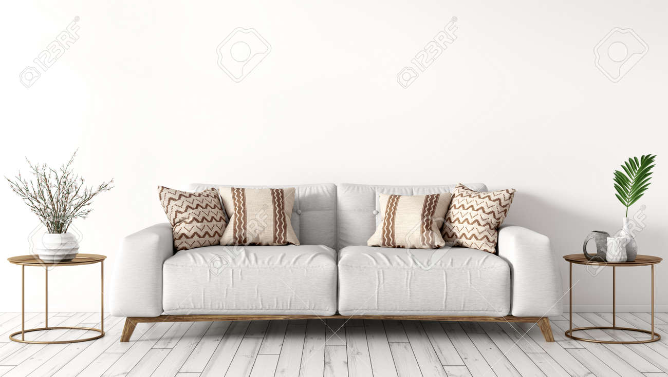 Modern Interior Design Of Living Room With White Sofa Coffee Stock Photo Picture And Royalty Free Image Image 130392613