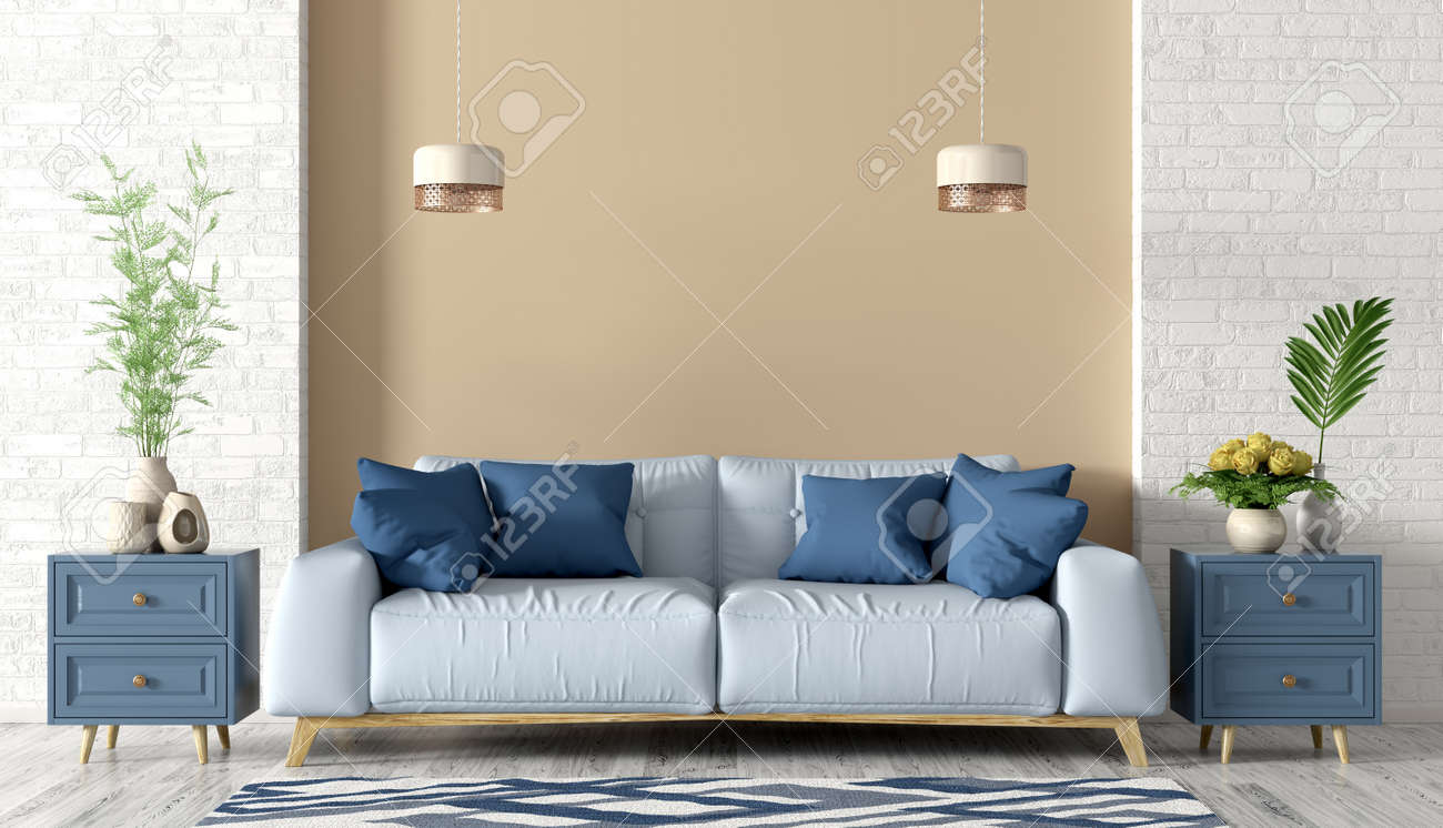 Modern Interior Of Living Room With Light Blue Sofa Cabinets Stock Photo Picture And Royalty Free Image Image 130392655