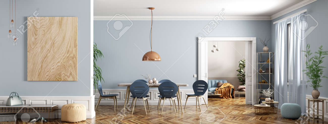 Modern Interior Design Of Apartment Dining Room With Table And Stock Photo Picture And Royalty Free Image Image 131368411