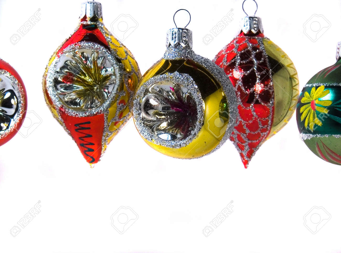 Glass xmas ornaments - Antique Glass Christmas Tree Ornaments Stock Photo 647895